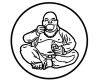 (Kape & Pan logo; Budai drinking coffee and eating pastry)
